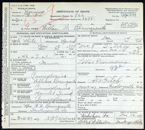 pennsylvania state birth & death certificates on ancestry
